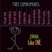 "Funny illustration with message: "" Free compliments, please take — Stock Vector"