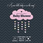 Baby girl invitation for baby shower — Stock Vector