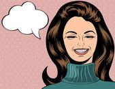 Pop art cute retro woman in comics style laughing — Stock Vector