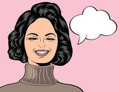 Pop art cute retro woman in comics style laughing — Stok Vektör