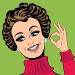 Pop art cute retro woman in comics style making OK sign — Stock Vector #66976169
