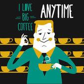Coffee break, businessman drinking  coffee — 图库矢量图片