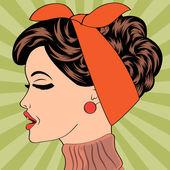 Pop art cute retro woman in comics style — Stock Vector