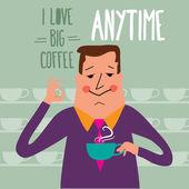Coffee break, businessman drinking  coffee — Stock Vector