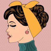 Sad pop art cute retro woman in comics style  — Stock Vector
