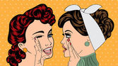 Pop art retro women in comics style that gossip — Stock Vector