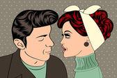 Pop art cute retro couple in comics style — Stock vektor