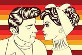 Pop art cute retro couple in comics style — Stock Vector