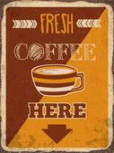 "Retro metal sign ""Fresh coffee here"" — Stock Vector"