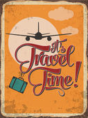 """Retro metal sign """"it's travel time"""" — Stock Vector"""