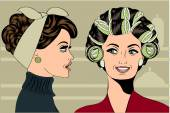 Woman with curlers in their hair talking with her friend — Stock Vector