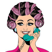 Woman with curlers in their hair talking at phone, isolated on w — Stock Vector