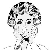 Woman with curlers in their hair talking at phone — Stock Vector