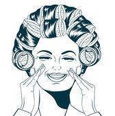 Woman with curlers in their hair — Stock Vector