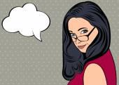 Roztomilá žena retro ve stylu komiksů s zprávy — Stock vektor