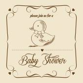 Baby shower card with retro toy — Stock Vector