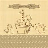 Baby-Dusche-Karte mit retro-Spielzeug — Stockvektor