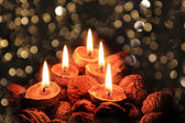 Christmas candles in the dark night — Stock Photo