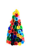 Chriostmas tree from color plastic caps  — Stock Photo
