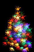 Abstract color christmas light background (xmas tree) — Stock Photo