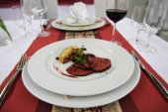 Roasted celery and beaf steak  — Stock Photo