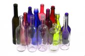 Color glass bottles — Stock Photo