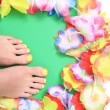 Women feets and flowers (pedicure tbackground) — Stock Photo #73227269