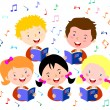 Children choir. Kids choir singing. — Stock Vector #66520619