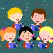 Children choir. Kids choir singing. — Stock Vector #66523057