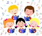 Children choir. Kids choir singing. — Stock Vector