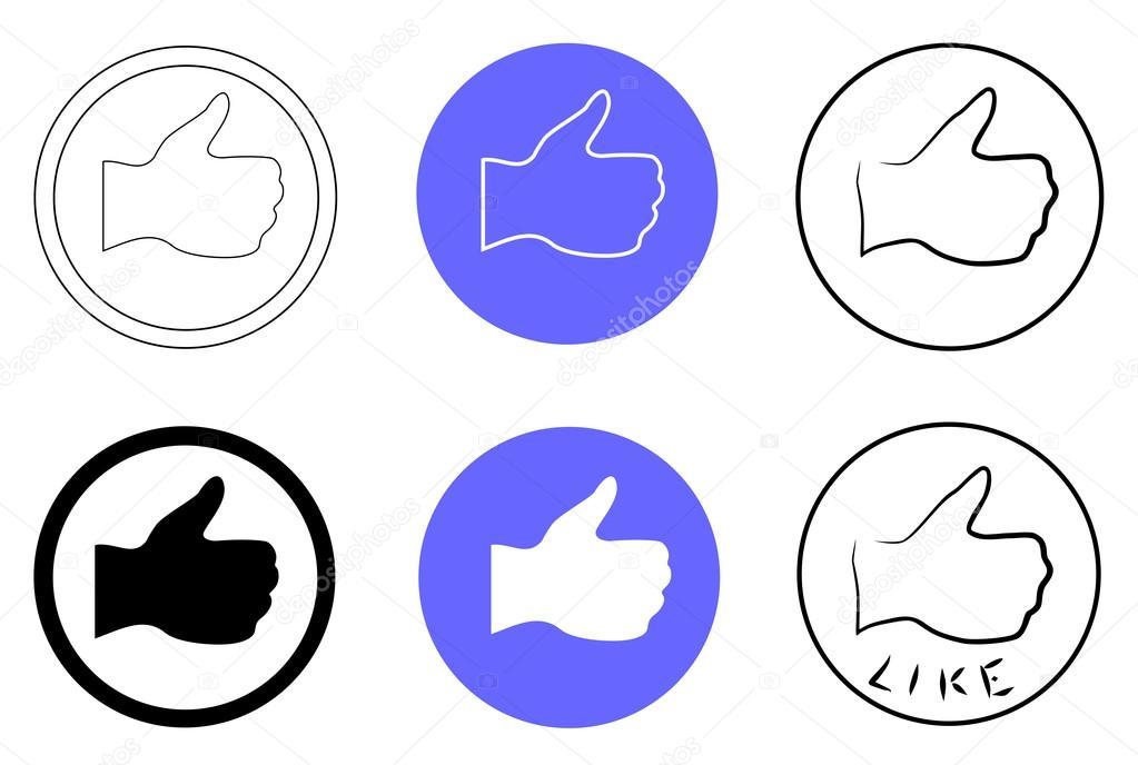 大拇指向上标志设置图标矢量