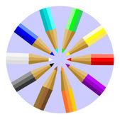 Multicolor Colored Pencils or Crayons — Stock Vector
