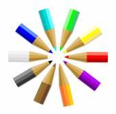 Çok renkli renkli kalem veya boya kalemi — Stok Vektör