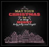 Christmas placard with greetings — Stockvector