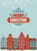 Christmas postcard with vintage street — Vetor de Stock