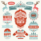 Christmas Typographic and Calligraphic elements — Vector de stock