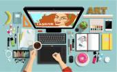 Creative Designers Workspace — Stock Vector