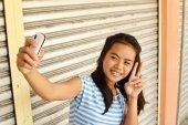 Peace Sign Selfie — Stock Photo