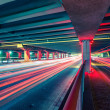 Light traces on traffic junctions at night — Stock Photo #55029945