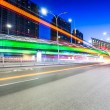 Light traces on traffic junctions at night — Stock Photo #55031199