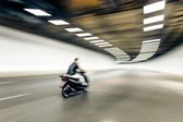 Interior of an urban tunnel with motorcycle,motion blur — Photo
