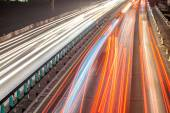 Busy Night Traffic Motion Blur — Stock Photo