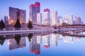 Skyscrapers - office buildings in downtown Beijing at sunset tim — 图库照片