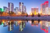 Skyscrapers - office buildings in downtown Beijing at sunset tim — Stock Photo