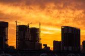 Building construction site in sunrise — Stockfoto