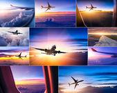 Airplane theme collage — Stockfoto