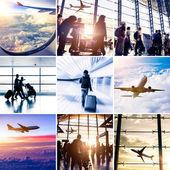 Airplane theme collage — Stock Photo
