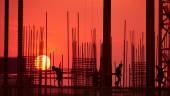 Silueta del sitio de construcción — Foto de Stock