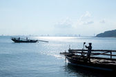 The fishing boats and fisher — Stockfoto