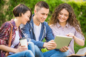 Students outdoors — Stock Photo